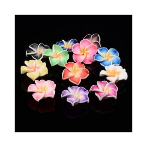 Mixed-Colour Polymer Clay Flower Beads 10mm x 20mm Pack Of 10 HA24215