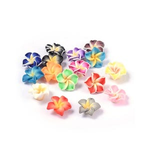 Mixed-Colour Polymer Clay Flower Beads 8mm x 12mm Pack Of 10 HA24260
