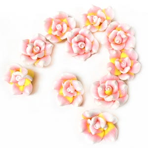 Mixed-Colour Polymer Clay Flower Beads 9mm x 20mm Pack Of 10 HA24265