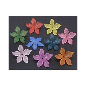 Mixed-Colour Lucite Flower Beads 7mm x 27mm Pack Of 20 HA25035