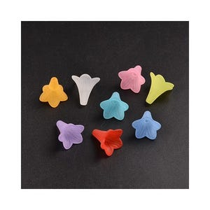 Mixed-Colour Lucite Flower Beads 22mm Pack Of 10 HA25270