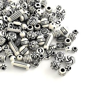 White/Black Acrylic Mixed Shape Beads 15mm-25mm Pack Of 30g HA25310
