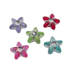 Mixed-Colour Acrylic Flat Star Beads 4mm x 10mm Pack Of 80+ HA25735