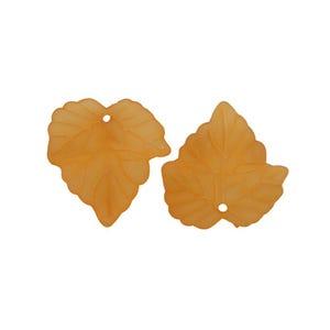 Orange Lucite Leaf Beads 22mm x 24mm Pack Of 30 HA26080