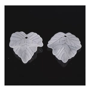 White Lucite Leaf Beads 22.5mm x 24mm Pack Of 30 HA26105