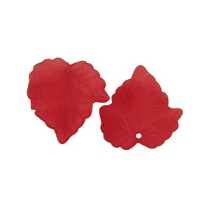 Red Lucite Leaf Beads 22mm x 24mm Pack Of 30 HA26360