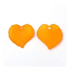 Orange Lucite Leaf Beads 15mm x 16mm Pack Of 50+ HA26640
