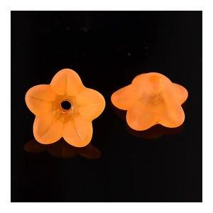 Orange Lucite Flower Beads 7mm x 13mm Pack Of 50+ HA26695