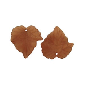 Brown Lucite Leaf Beads 22mm x 24mm Pack Of 30 HA26960