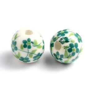 White/Green Porcelain Plain Round Beads 12mm Pack Of 10 HA27025