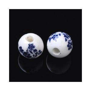 White/Dark Blue Porcelain Plain Round Beads 10mm Pack Of 10 HA27050