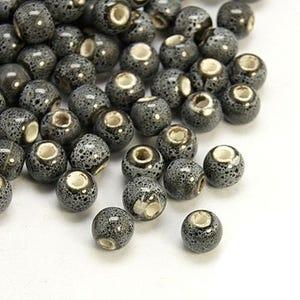 Grey/Black Glazed Porcelain Plain Round Beads 6mm Pack Of 10 HA27085