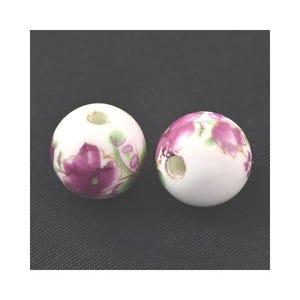 White/Violet Porcelain Plain Round Beads 12mm Pack Of 10 HA27090