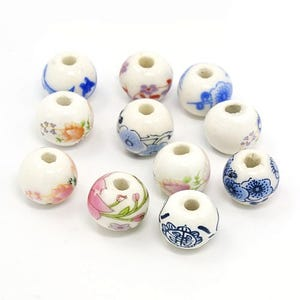 White/Mixed-Colour Porcelain Plain Round Beads 12mm Pack Of 10 HA27185