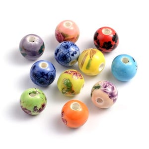 Mixed-Colour Porcelain Plain Round Beads 10mm Pack Of 10 HA27215