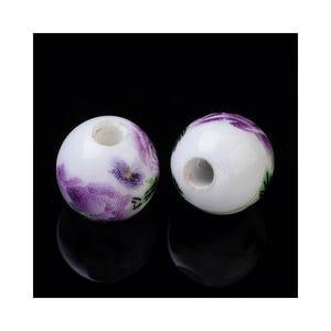 White/Purple Porcelain Plain Round Beads 10mm Pack Of 10 HA27220