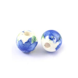 White/Blue Porcelain Plain Round Beads 10mm Pack Of 10 HA27245