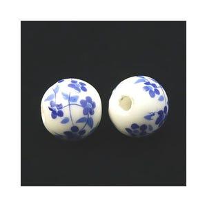 White/Dark Blue Porcelain Plain Round Beads 12mm Pack Of 10 HA27280