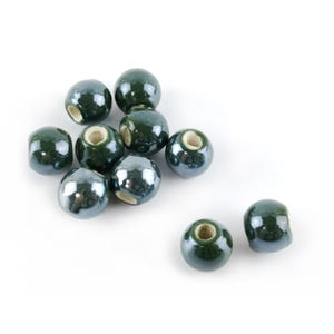 Dark Green Pearlised Porcelain Plain Round Beads 10mm Pack Of 10 HA27340
