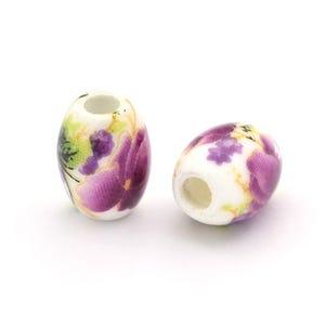 White/Violet Porcelain Oval Beads 8mm x 10mm Pack Of 10 HA27360