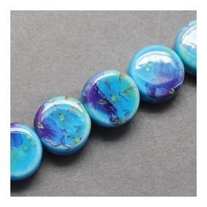 Pale Blue Porcelain Puffy Coin Beads 5mm x 9mm Pack Of 10 HA27395