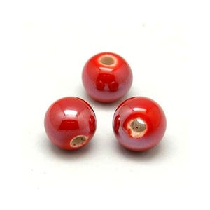 Red Pearlised Porcelain Plain Round Beads 8mm Pack Of 10 HA27420