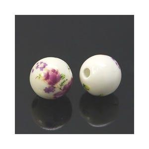 White/Violet Porcelain Plain Round Beads 12mm Pack Of 10 HA27475