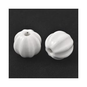 White Glazed Porcelain Carved Round Beads 12mm x 13mm Pack Of 10 HA27480