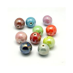 Mixed-Colour Pearlised Porcelain Plain Round Beads 10mm Pack Of 10 HA27500