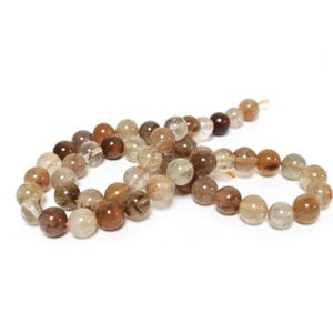 Brown/Clear Brookite In Quartz Grade A Plain Round Beads 8mm Strand Of 45+ Pieces TD1020