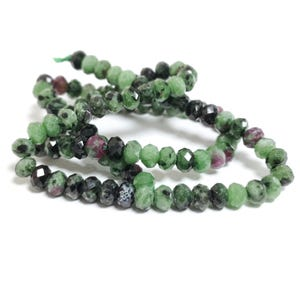 Green/Fuchsia Ruby in Zoisite Grade A Faceted Rondelle Beads 4mm x 6mm Strand Of 95+ Pieces TD1115