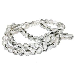 Grey/Black Rutilated Quartz Grade AA Plain Round Beads 6mm Strand Of 60+ Pieces TD1125