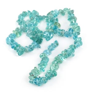 Blue Fluorapatite Grade A Chip Beads Approx 5-11mm Strand Of 110+ Pieces TD1150