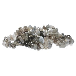 Grey/Black Black Moonstone Grade A Chip Beads Approx 6-11mm Strand Of 90+ Pieces TD1220
