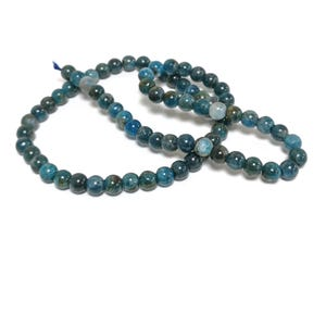 Teal Blue Apatite Grade A Plain Round Beads 6mm Strand Of 60+ Pieces TD1225