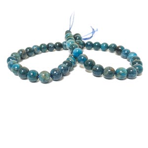 Teal Blue Apatite Grade A Plain Round Beads 8mm Strand Of 45+ Pieces TD1230