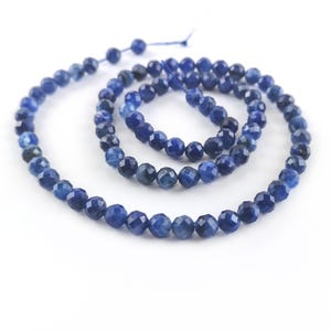 Blue Kyanite Grade A Faceted Round Beads 4mm Strand Of 80+ Pieces TD1245