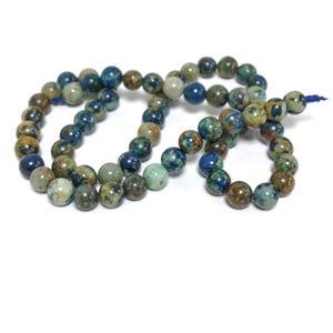 Blue/Green Azurite Grade A Plain Round Beads 6mm Strand Of 60+ Pieces TD1255