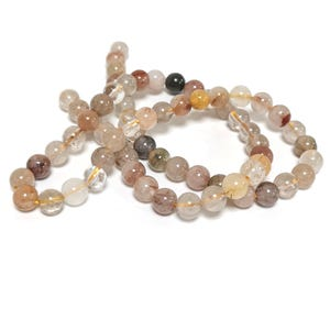 Brown/Clear Brookite In Quartz Grade A Plain Round Beads 6mm Strand Of 60+ Pieces TD1270