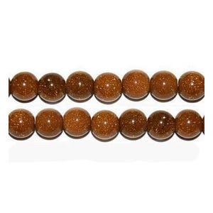 Brown Goldstone Plain Round Beads 10mm Pack Of 6 VP2060