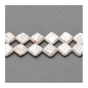 Pale Cream Magnesite Grade A Puffy Diamond Beads 12mm Pack Of 5 VP2250