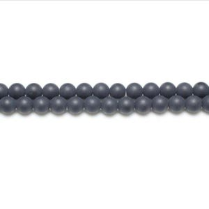 Black Frosted Onyx Grade A Plain Round Beads 4mm Pack Of 12 VP2380