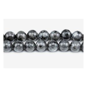 Black/Grey Larvikite Grade A Plain Round Beads 6mm Pack Of 10 VP3045