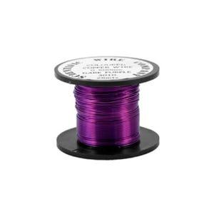Copper Craft Wire Dark Purple Enamelled 15m Coil 0.5mm Thick W5010