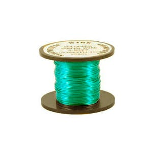 Copper Craft Wire Turquoise Enamelled 15m Coil 0.5mm Thick W5104