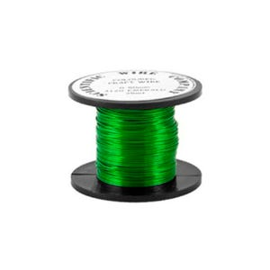 Copper Craft Wire Bright Green Enamelled 15m Coil 0.5mm Thick W5120