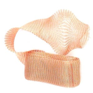Knitted Mesh Copper Craft Wire Rose Gold Enamelled 1m Flat Tube 20mm Thick X1590