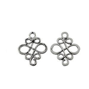 Antique Silver Tibetan Zinc 18mm x 22mm Celtic Knot Pagan Connectors Pack Of 10 Y00130