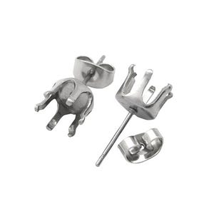 Silver 304 Stainless Steel 7mm x 16mm Round Ear Studs Pack Of 5 Y00455