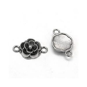 Antique Silver Metal Alloy 3mm x 12mm Flower Connectors Pack Of 10 Y00565